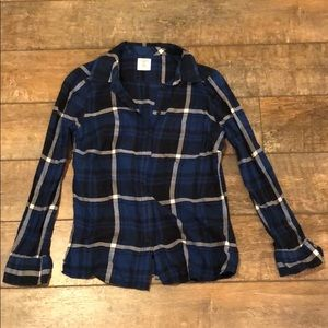 Plaid Fitted Boyfriend Shirt